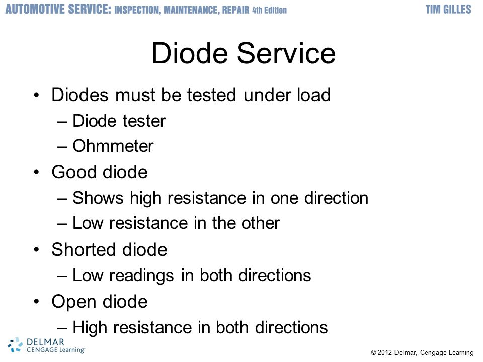 Diode Service Diodes must be tested under load Good diode