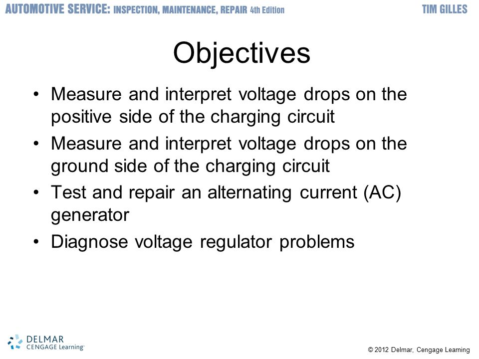 Objectives Measure and interpret voltage drops on the positive side of the charging circuit.