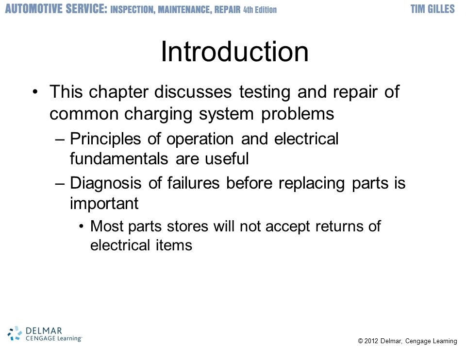 Introduction This chapter discusses testing and repair of common charging system problems.