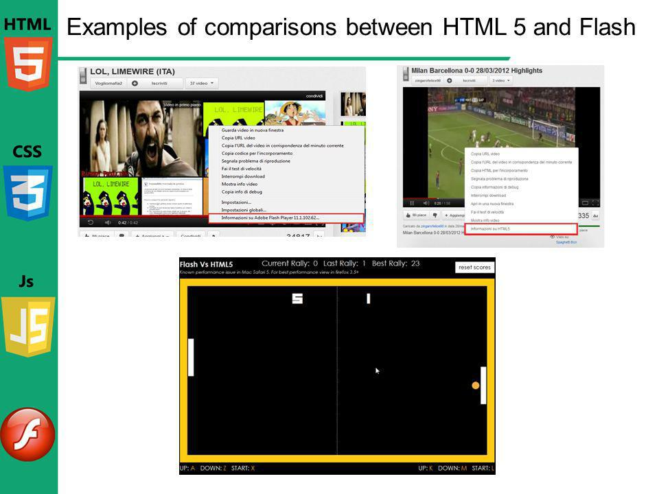 Examples of comparisons between HTML 5 and Flash