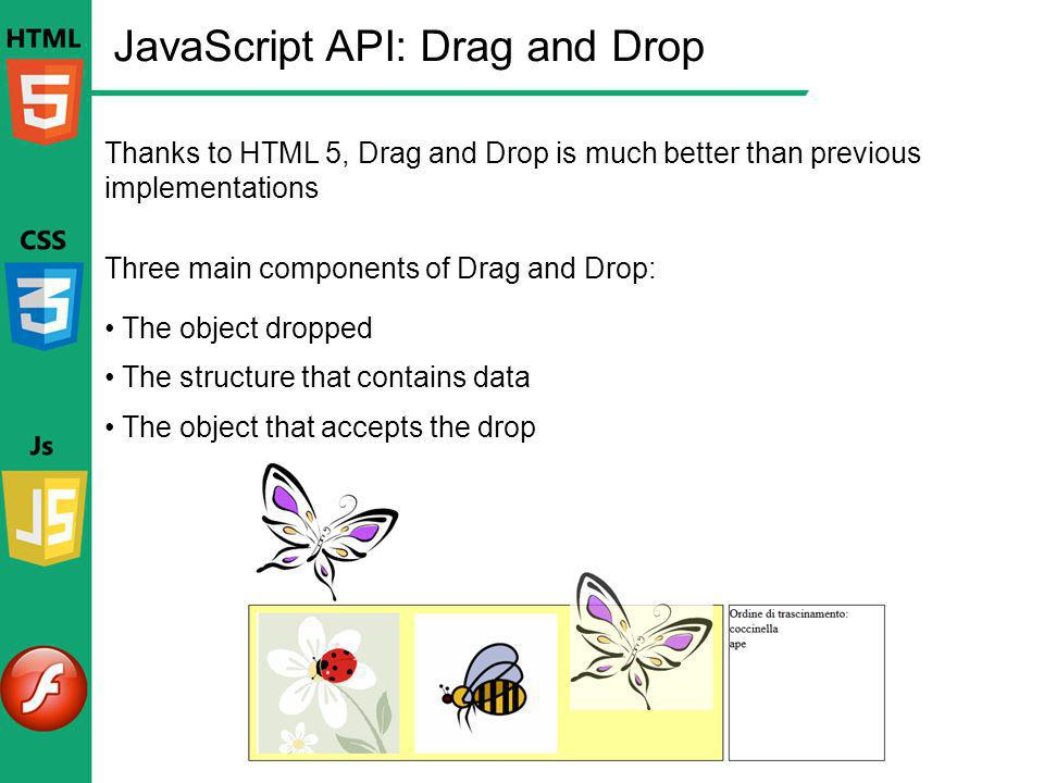 JavaScript API: Drag and Drop