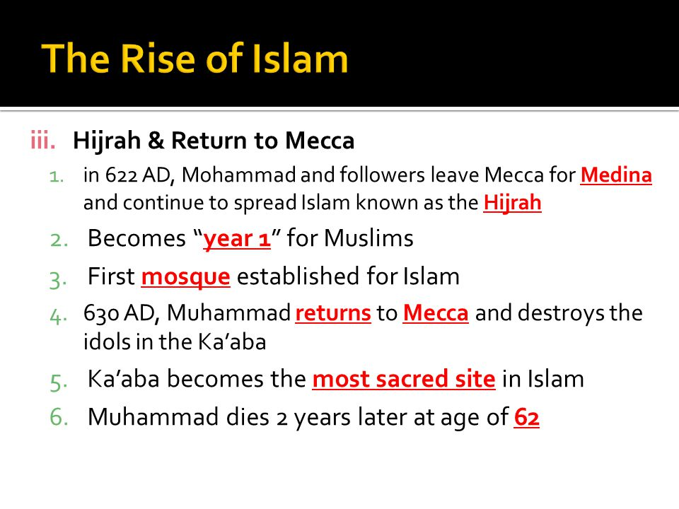 The Rise of Islam Hijrah & Return to Mecca