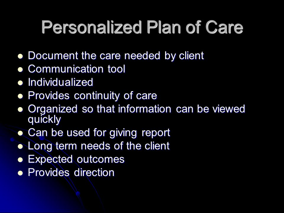 Personalized Plan of Care