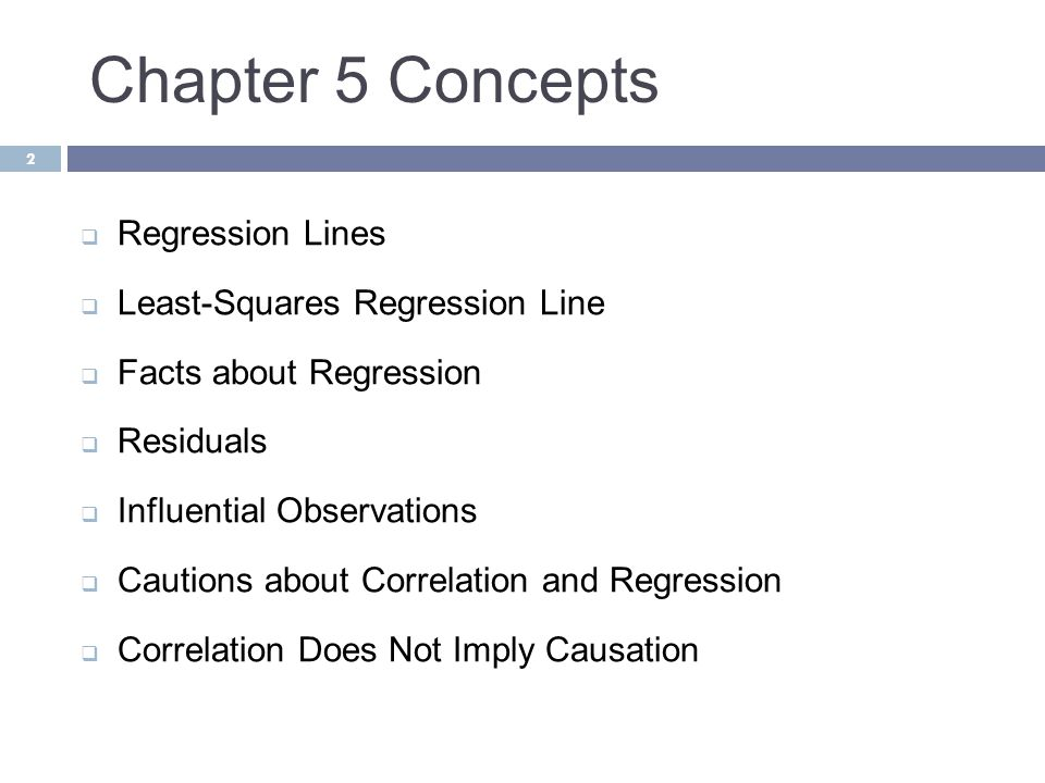 Chapter 5 Concepts Regression Lines Least-Squares Regression Line