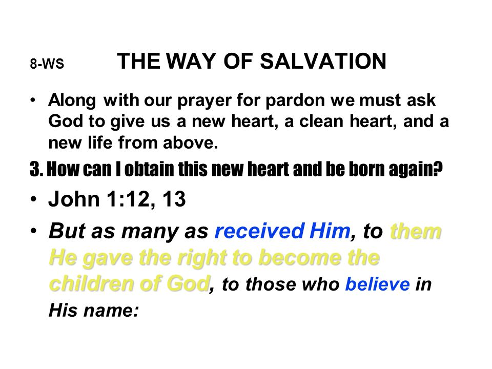 8-WS THE WAY OF SALVATION