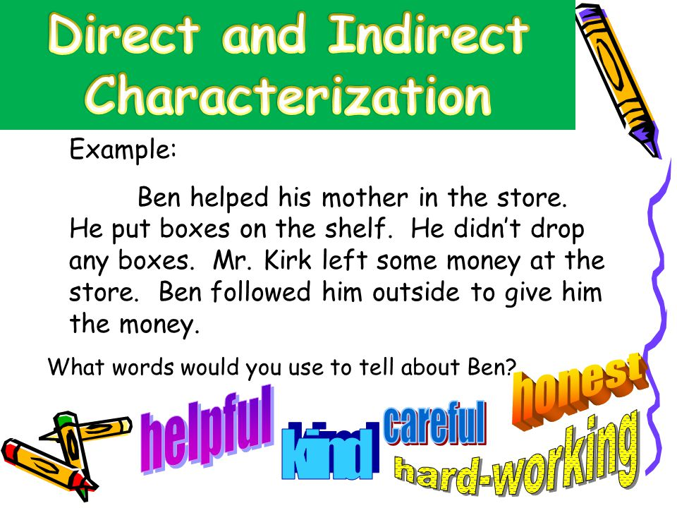indirect characterization essays In the short story a good man is hard to find , the author applies both direct characterization and indirect characterization to exhibit the selfishness of the grandmother, the innocence of the children, and the wickedness of the misfit.