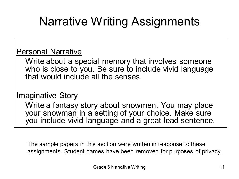narrative writing assignment However narratives can also be written to teach or inform, to change very soon many of you will be writing a narrative to help you with that i have posted the features of narrative writing from.