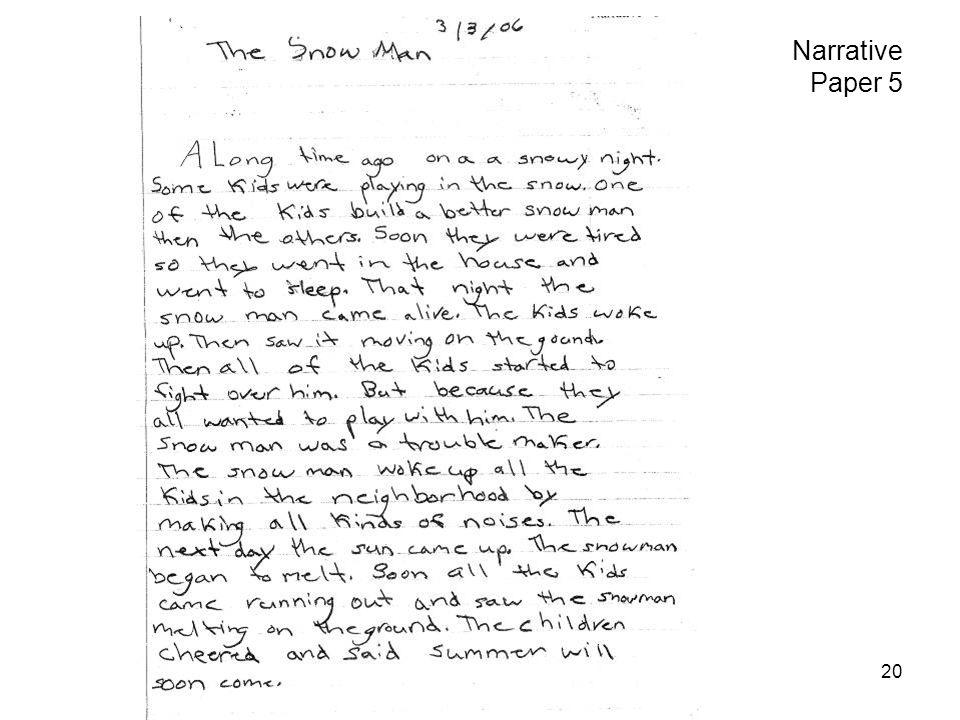 Grade 3 level 1 writing sample.