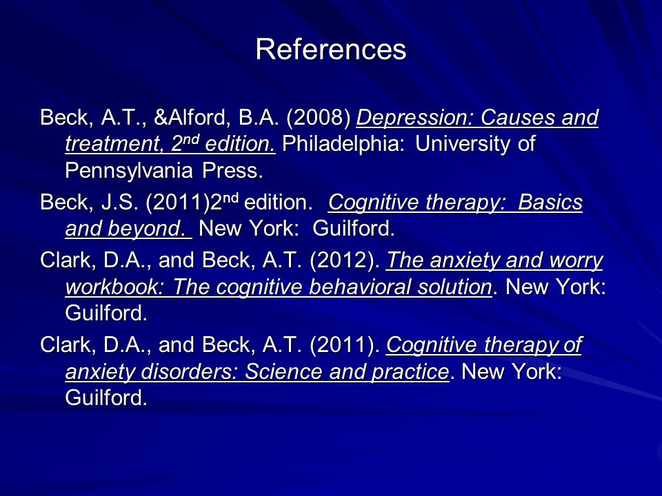 depression causes and treatment beck pdf