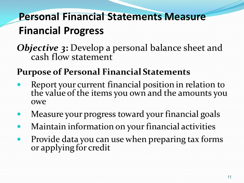 Personal Financial Statements Measure Financial Progress