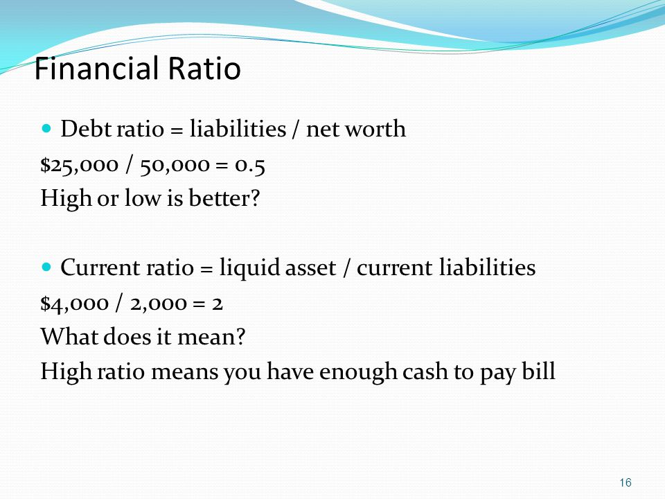 Financial Ratio Debt ratio = liabilities / net worth