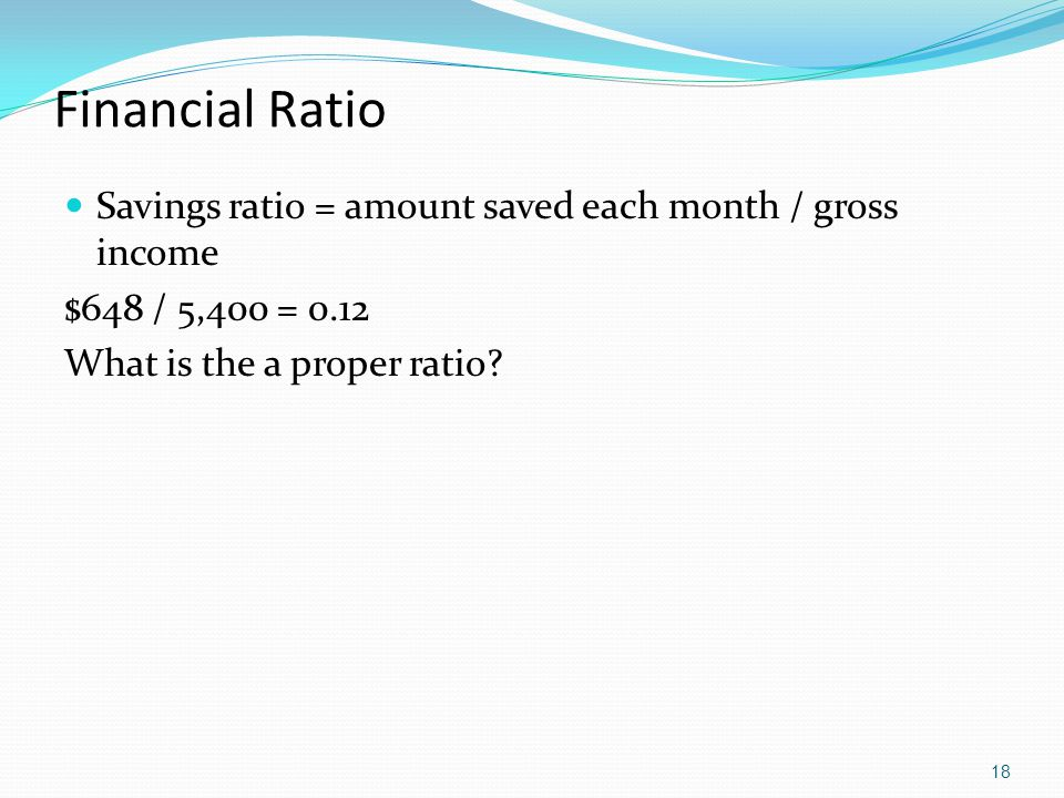 Financial Ratio Savings ratio = amount saved each month / gross income