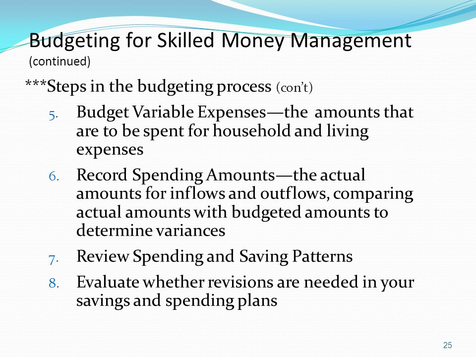 Budgeting for Skilled Money Management (continued)