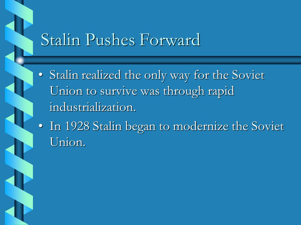 a history of stalins rapid industrialization plan in soviet union History 1c: lecture 10 the stalin revolution  first five-year plan-- stalin pushes through program of rapid industrialization  1928  on the contrary, everything that glistens in the soviet union [the vision of socialism] acquired new dimensions in one man's mind within 3 days a firing squad shot bukharin, rykov and 13 others.