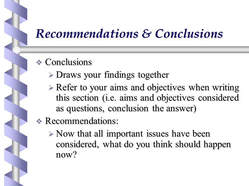 Recommendations & Conclusions