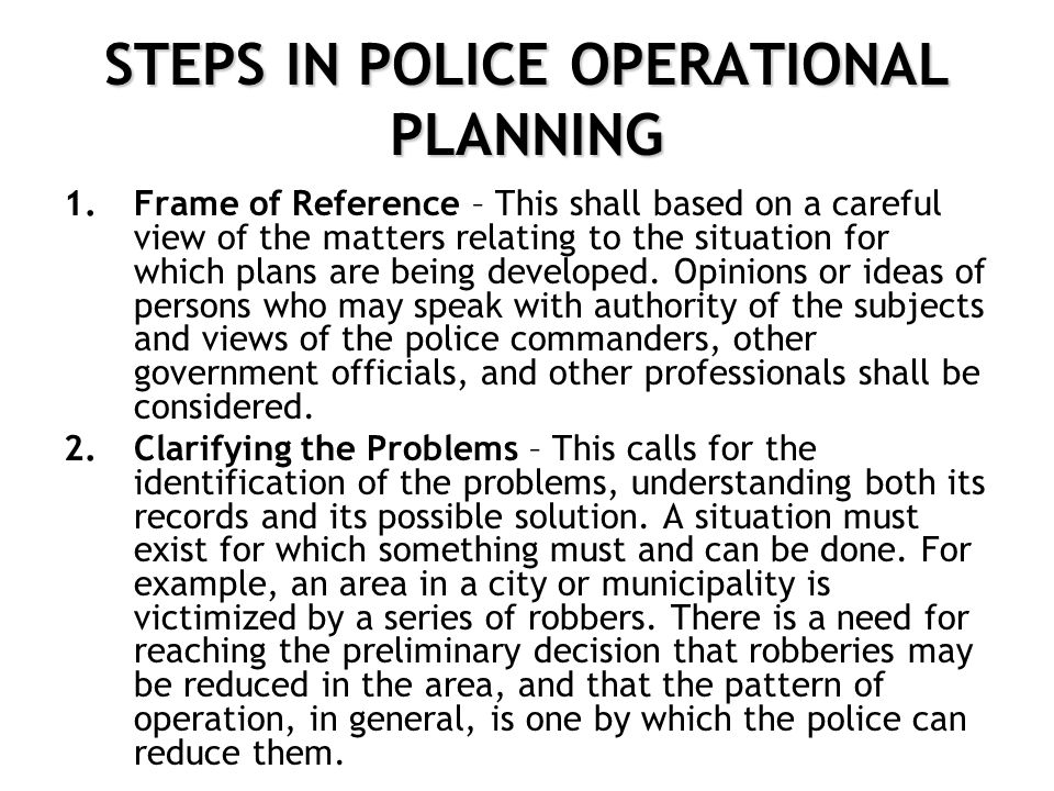 Police Operational Plan Examples