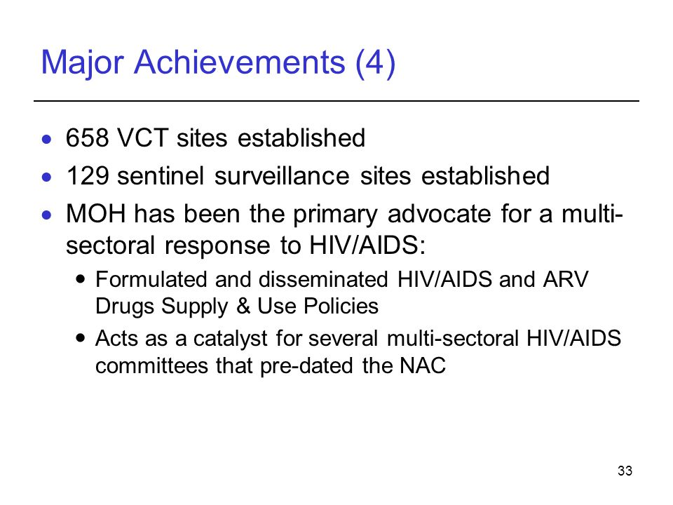 Major Achievements (4) 658 VCT sites established
