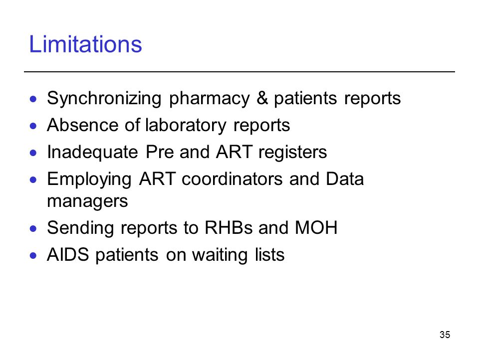 Limitations Synchronizing pharmacy & patients reports