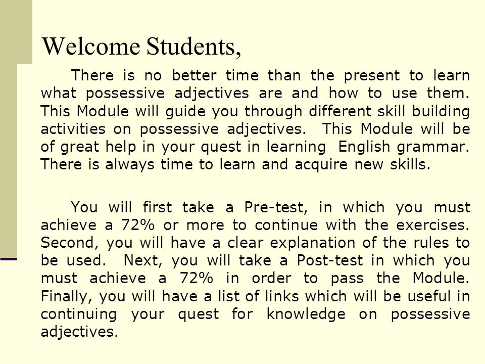 Module On Possessive Adjectives Ppt Video Online Download. 5 Wele Students. Worksheet. Using Descriptive Adjectives Worksheet Module 9 At Mspartners.co