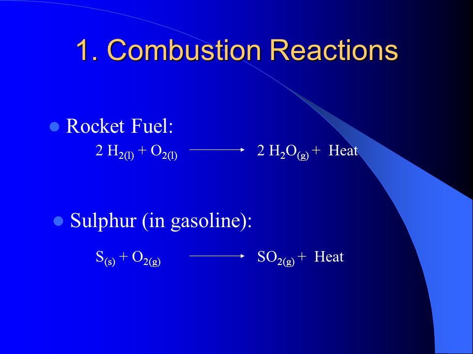 Chemical Reactions Five Types of Chemical Reactions: 1  Combustion