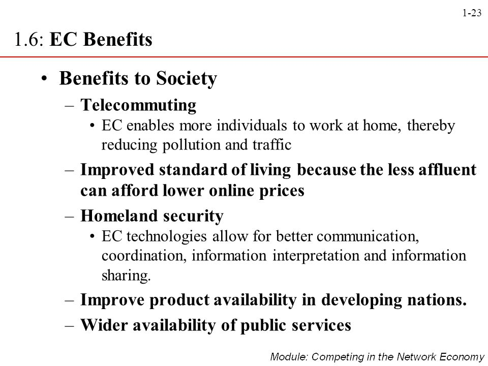 1.6: EC Benefits Benefits to Society Telecommuting