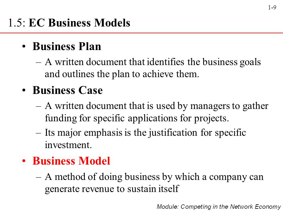 1.5: EC Business Models Business Plan Business Case Business Model