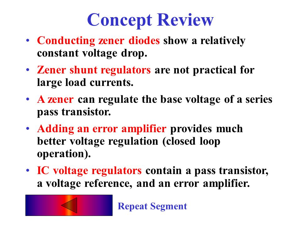 Concept Review Conducting zener diodes show a relatively constant voltage drop. Zener shunt regulators are not practical for large load currents.
