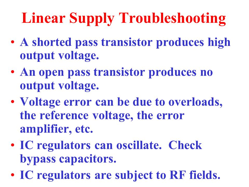 Linear Supply Troubleshooting