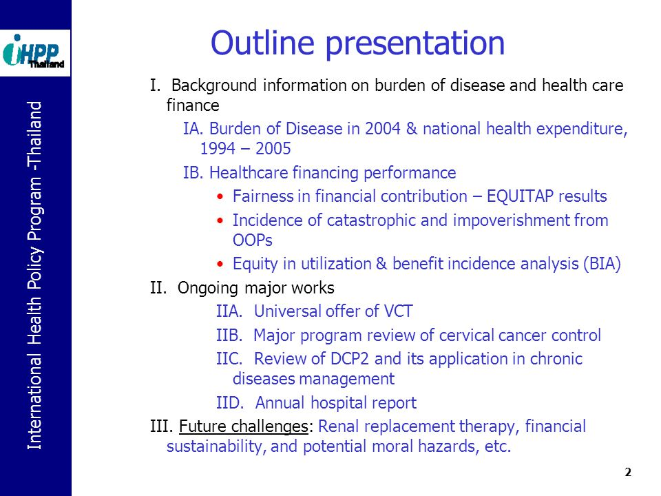 Healthcare Financing In Thailand An Update In Ppt Download