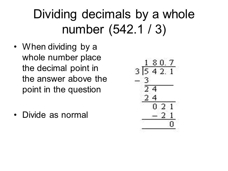 dividing decimals Dividing decimals by decimals this is a complete lesson with a video, instruction, and exercises about dividing decimals by decimals, meant for 5th grade the lesson concentrates on the idea that we can transform any division with a decimal divisor into a whole-number division by multiplying both the dividend and the divisor by 10, 100, 1000.