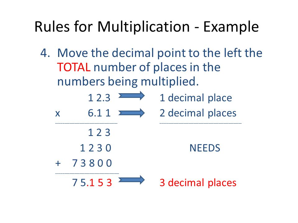 Rules for Multiplication - Example