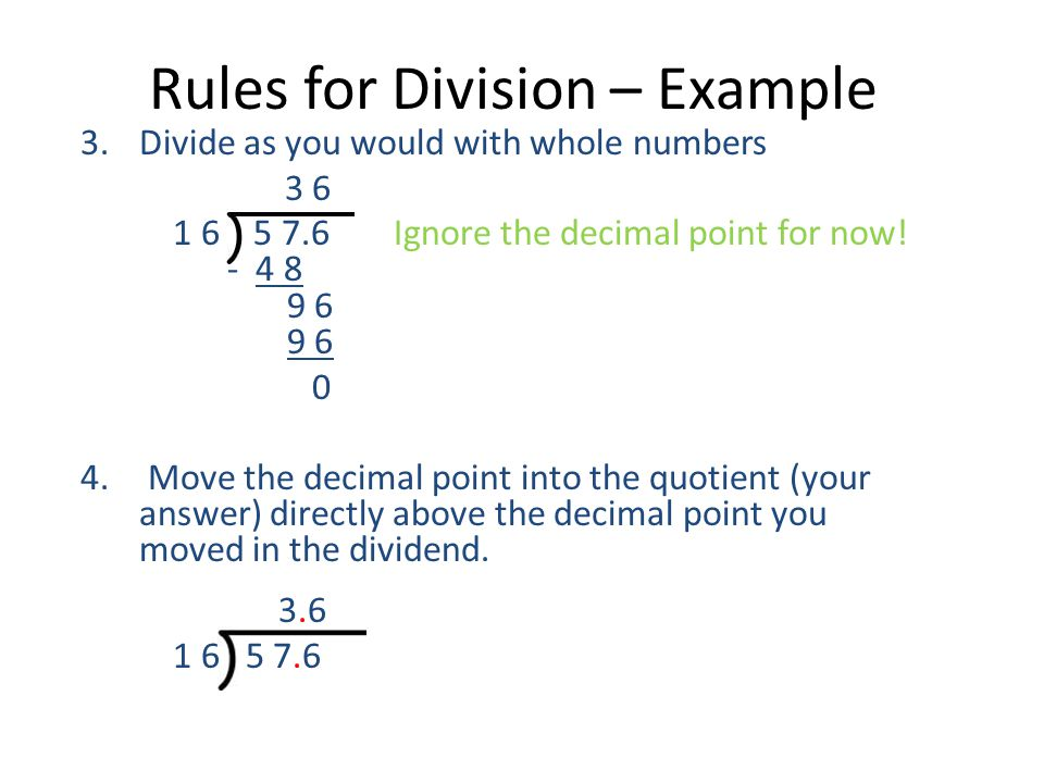 Rules for Division – Example