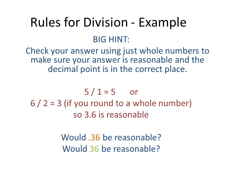 Rules for Division - Example