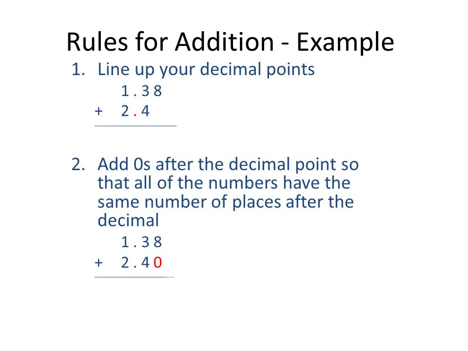 Rules for Addition - Example