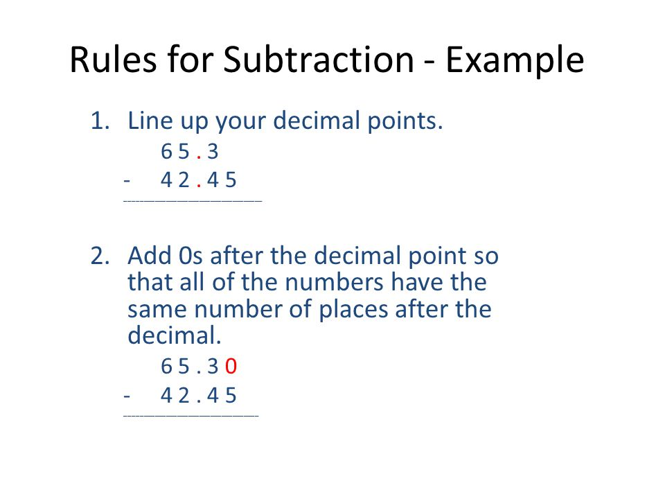 Rules for Subtraction - Example
