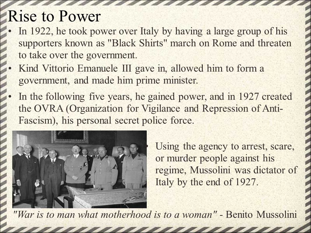 The Rise Of Benito Mussolini Ppt Video Online Download