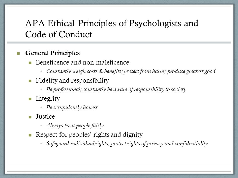 APA Ethical Principles of Psychologists and Code of Conduct