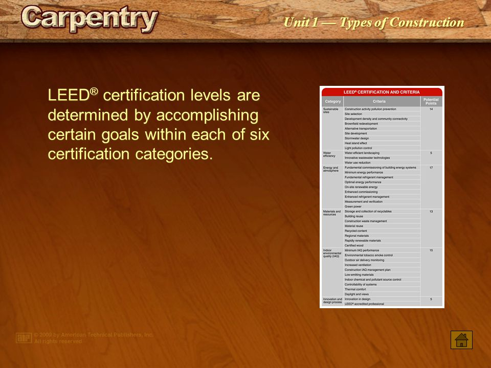 LEED® certification levels are determined by accomplishing certain goals within each of six certification categories.