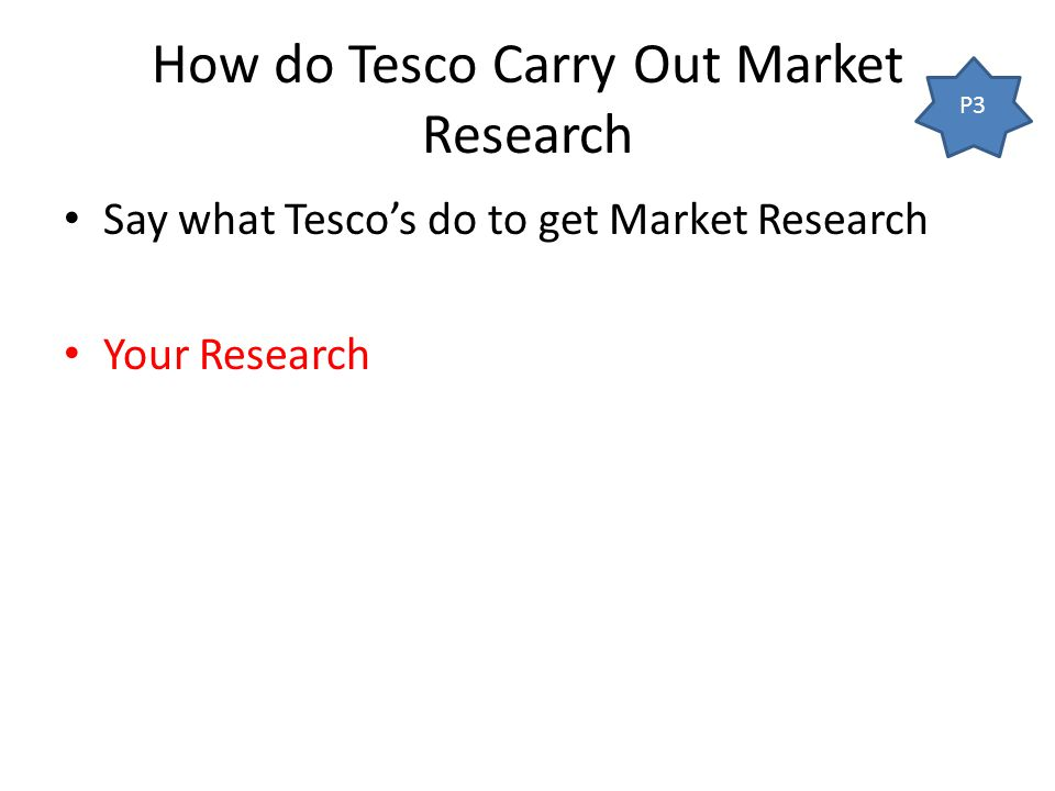 how does tesco use market research