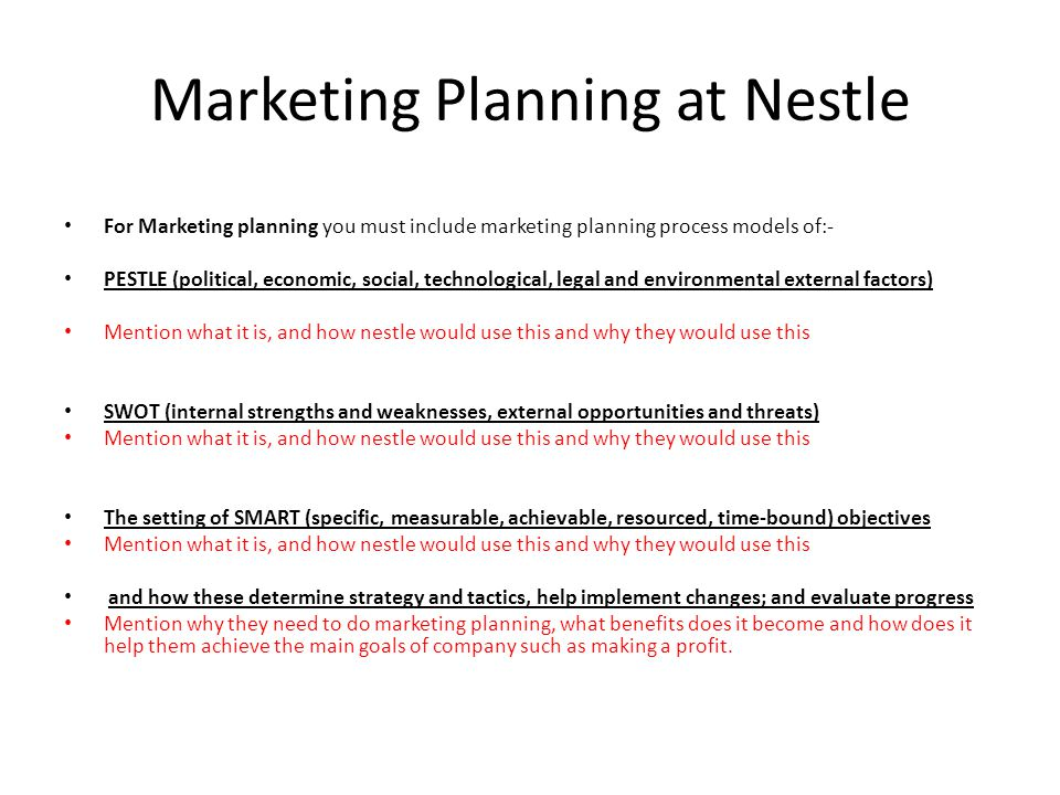 Marketing research and Marketing Planning at Nestle  - ppt