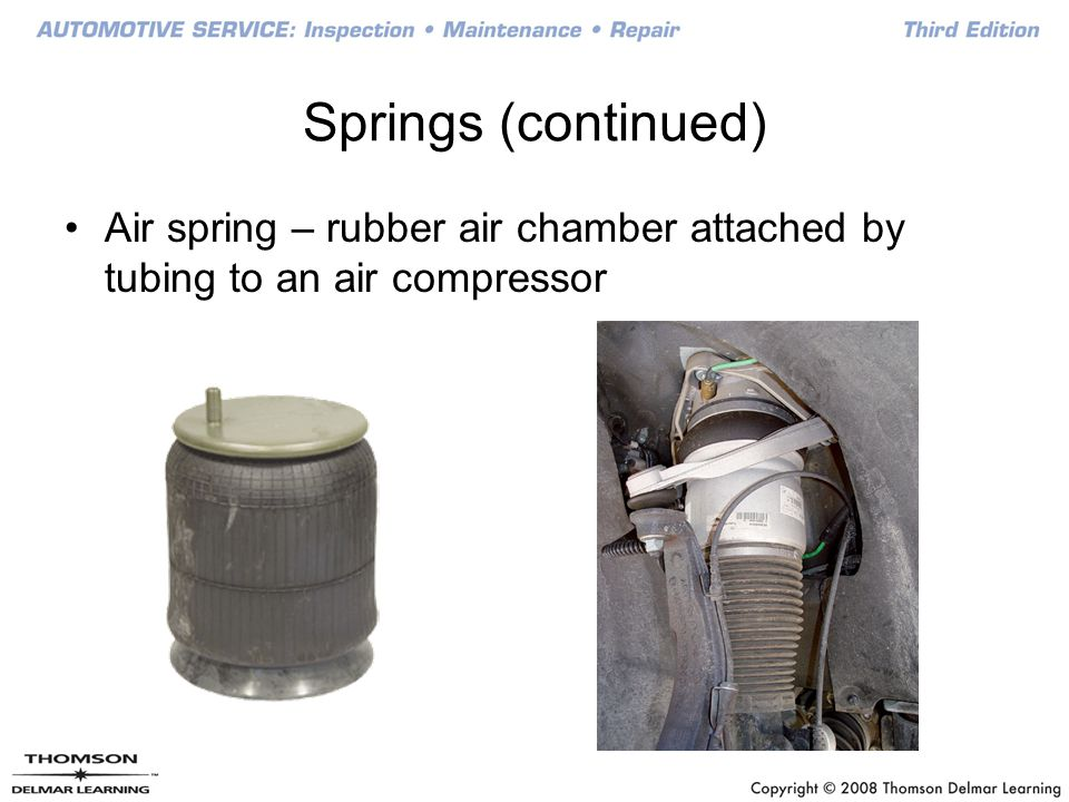 Springs (continued) Air spring – rubber air chamber attached by tubing to an air compressor