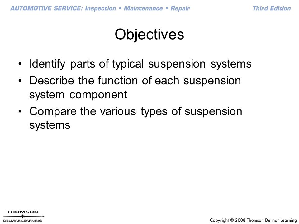 Objectives Identify parts of typical suspension systems