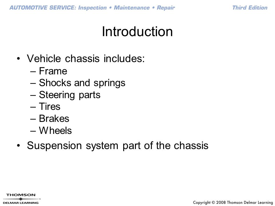 Introduction Vehicle chassis includes:
