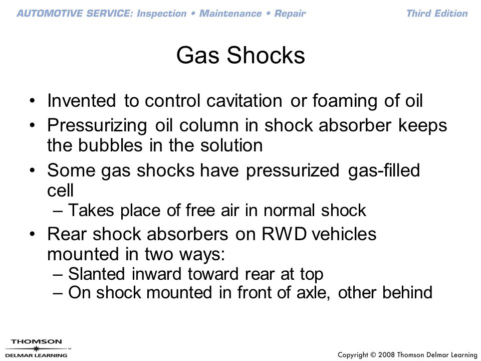 Gas Shocks Invented to control cavitation or foaming of oil