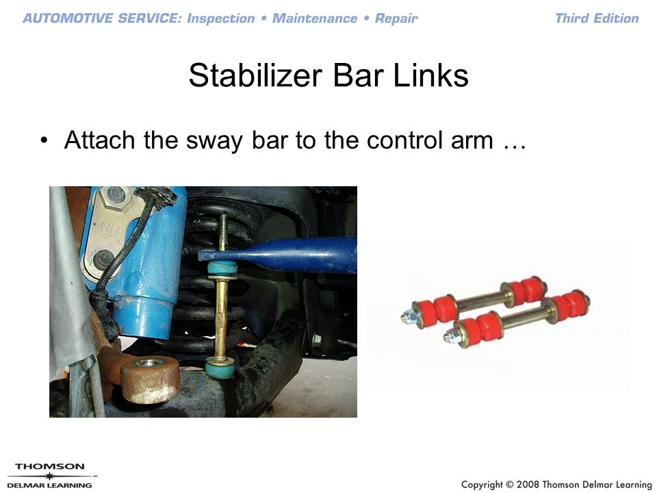Stabilizer Bar Links Attach the sway bar to the control arm …