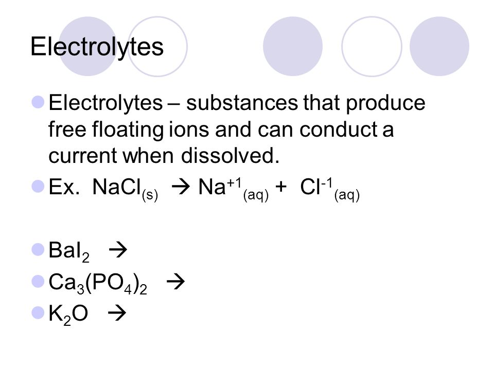 Electrolytes Electrolytes – substances that produce free floating ions and can conduct a current when dissolved.