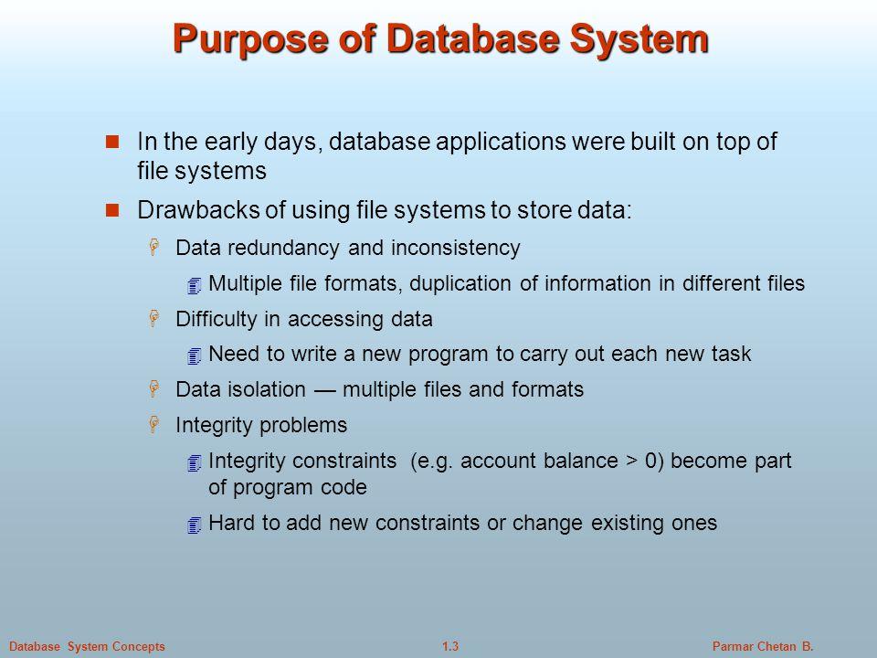 purpose of database system pdf