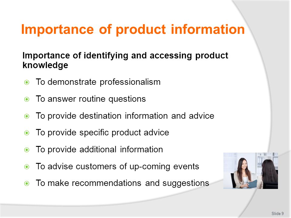 why is it important to have good product knowledge