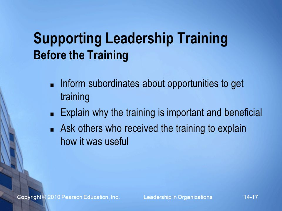 Supporting Leadership Training Before the Training