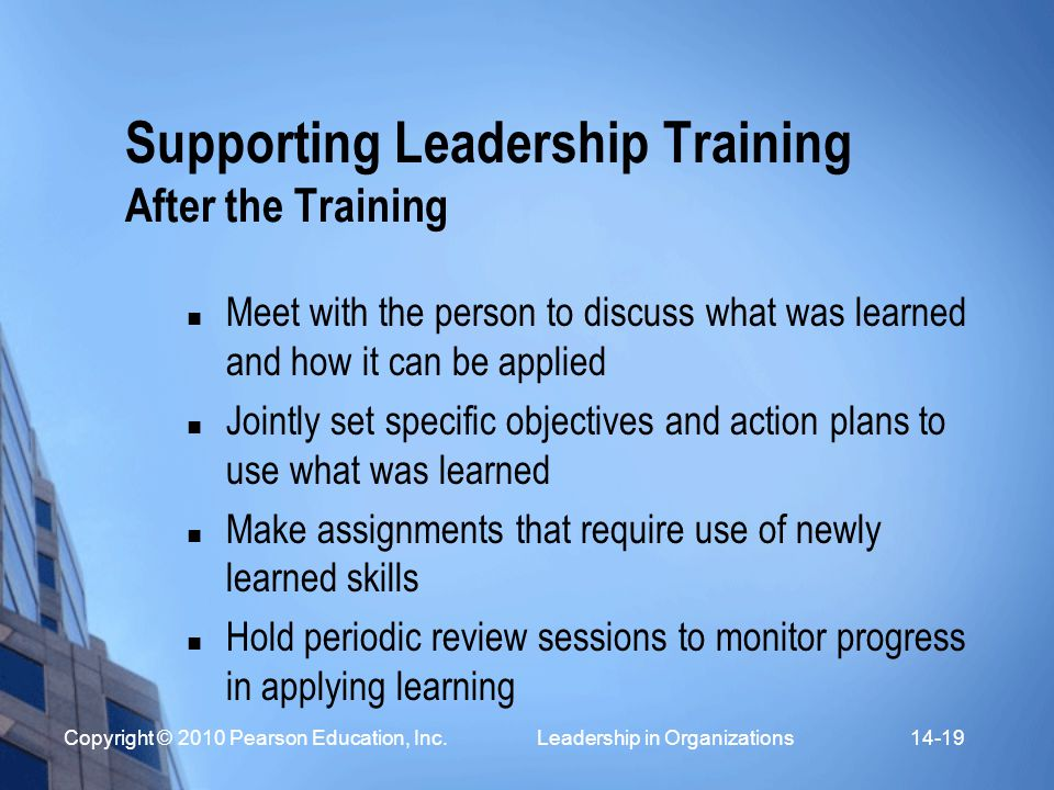 Supporting Leadership Training After the Training